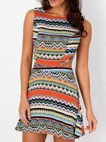 Multicolor Sleeveless Hollow Geometric Print Dress