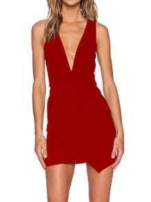 Red Ruby Sateen Dupioni Deep V Neck Trend Curvy Live Comfy Zipper Bodycon Dress