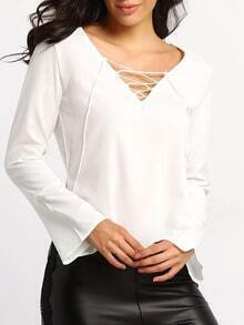 White V Neck Bandage Split Blouse