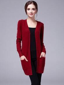 Wine Red V Neck Buttons Knit Cardigan