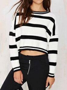 Black White Round Neck Striped Crop Sweater