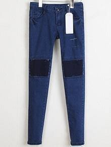 Blue Slim Patch Denim Pencil Pant