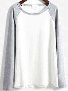 Grey White Round Neck Loose T-Shirt
