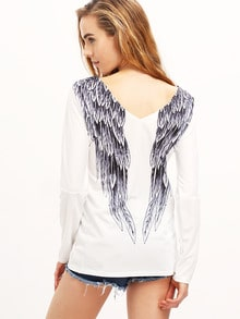 White Backless Wings Print Loose T-Shirt