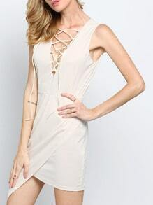 Apricot Sleeveless Deep V Neck Asymmetric Dress
