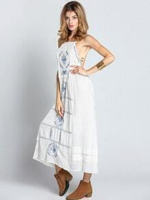 White Spaghetti Strap Backless Tribal Embroidered Dress