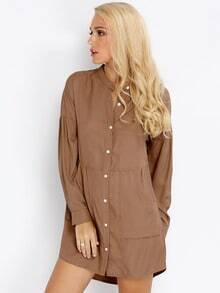 Khaki Long Sleeve Pockets Dress