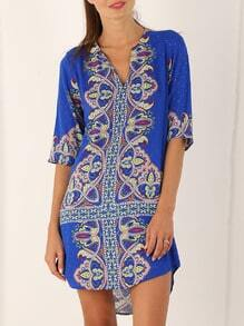 Blue Half Sleeve Vintage Print Dress