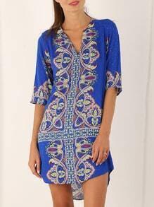Blue Half Sleeve Vintage Print Dress