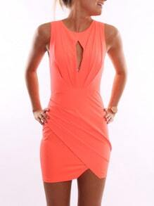 Orange Sleeveless Bodycon Dress