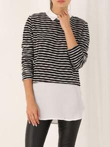 White Black Long Sleeve Striped Blouse