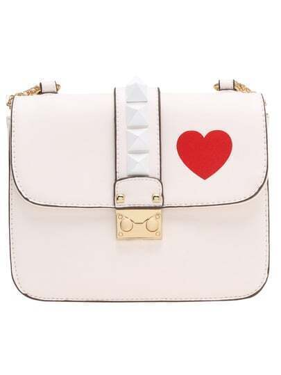 White Heart Print Rivets Shoulder Bag