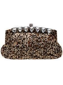 Brown Leopard Print Diamond Clutches