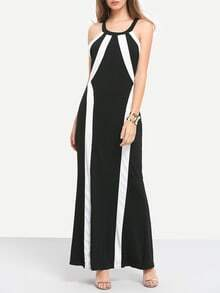 Black White Halter Slim Maxi Dress