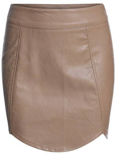 Khaki Slim Bodycon PU Skirt