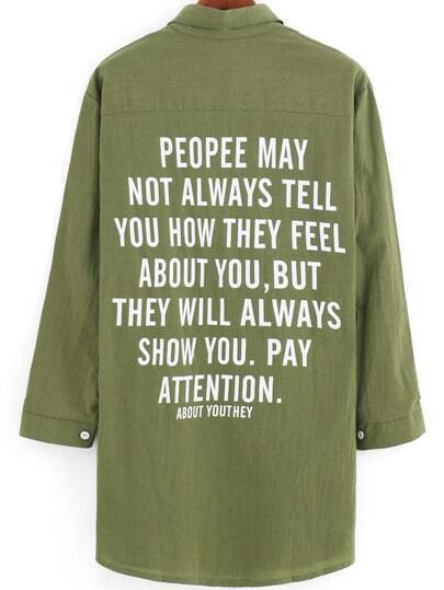 Army Green Lapel Buttons Loose Blouse