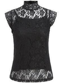 Black High Neck Lace Two Pieces Top