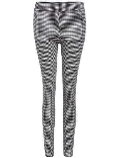 Black White Slim Houndstooth Leggings