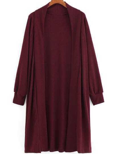 Wine Red Long Sleeve Loose Knit Cardigan