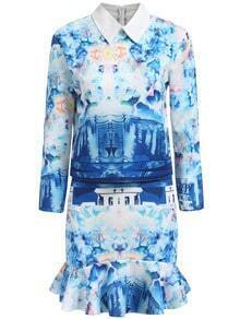 Blue White Lapel Floral Crop Top With Ruffle Skirt