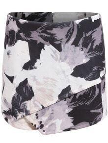 White Black Floral Bodycon Skirt Shorts