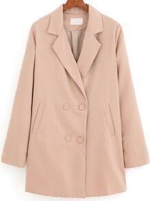 Khaki Lapel Double Breasted Loose Coat