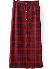 Red Black Plaid Buttons Skirt