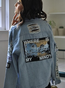 Blue Lapel Vintage Ripped Denim Coat
