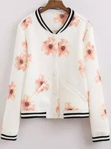 White Long Sleeve Floral Crop Coat