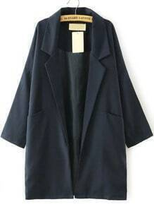 Navy Lapel Pockets Loose Trench Coat