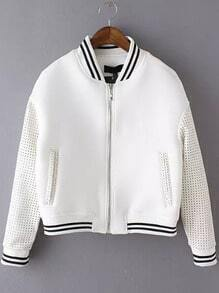 White Stand Collar Hollow Crop Casual Coat