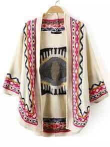 Multicolor Long Sleeve Eye Print Knit Cardigan