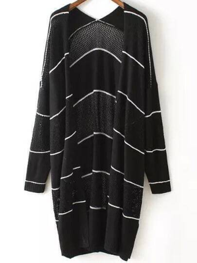 Black Long Sleeve Hollow Striped Cardigan