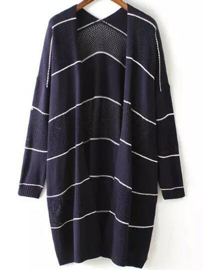 Navy Long Sleeve Hollow Striped Cardigan