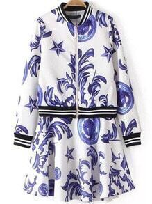 Purple White Stand Collar Floral Crop Top With Skirt