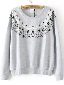 Grey Round Neck Bead Cats Print Sweatshirt