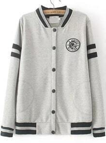 Grey Stand Collar Striped Badge Sweatshirt