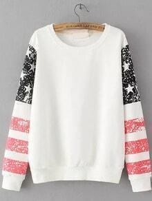 White Round Neck Striped Stars Print Sweatshirt