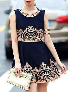 Navy Round Neck Sleeveless Embroidered Dress