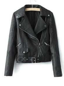 Black Lapel Oblique Zipper Crop PU Jacket