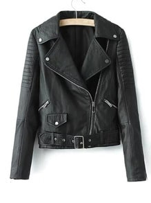 Oblique Zipper Crop PU Jacket With Buckle Belt