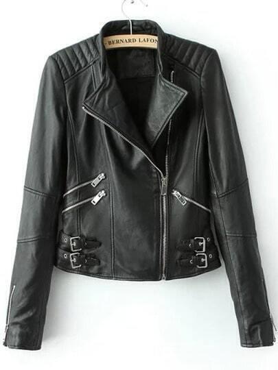 Black Stand Collar Zipper Buckle PU Jacket