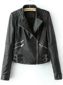 Black Stand Collar Zipper Buckle PU Jacket