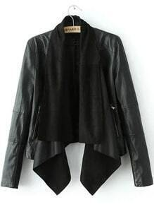 Black Removable Collar Crop PU Jacket