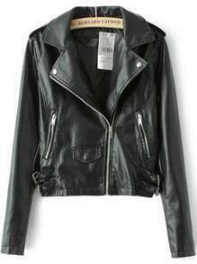 Black Lapel Epaulet Zipper Crop PU Jacket