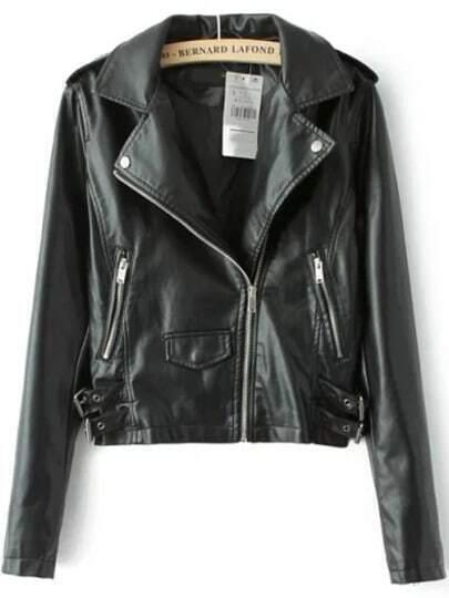 Black Lapel Epaulet Zipper Crop PU Jacket