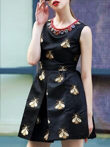 Black Round Neck Sleeveless Beading Print Dress