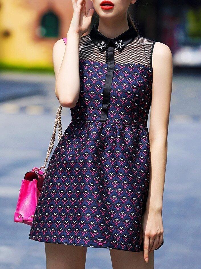 Purple Lapel Sleeveless Contrast Gauze Beading Jacquard Dress
