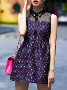 Purple Lapel Sleeveless Contrast Gauze Beading Jacquard Dress