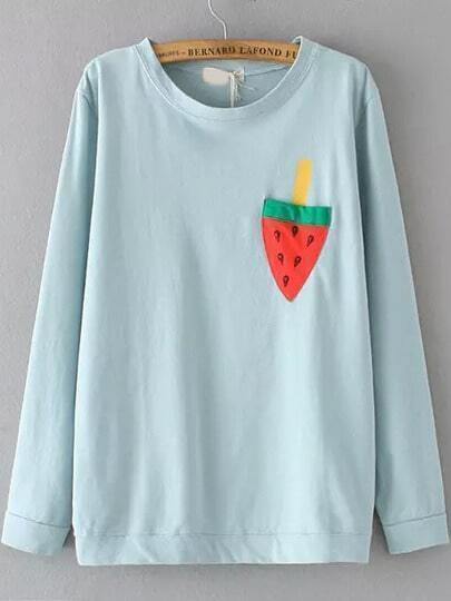 Blue Round Neck Watermelon Print Loose T-Shirt